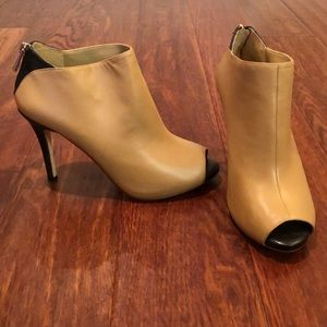EUC Ann Taylor brown high heeled peep toe boots